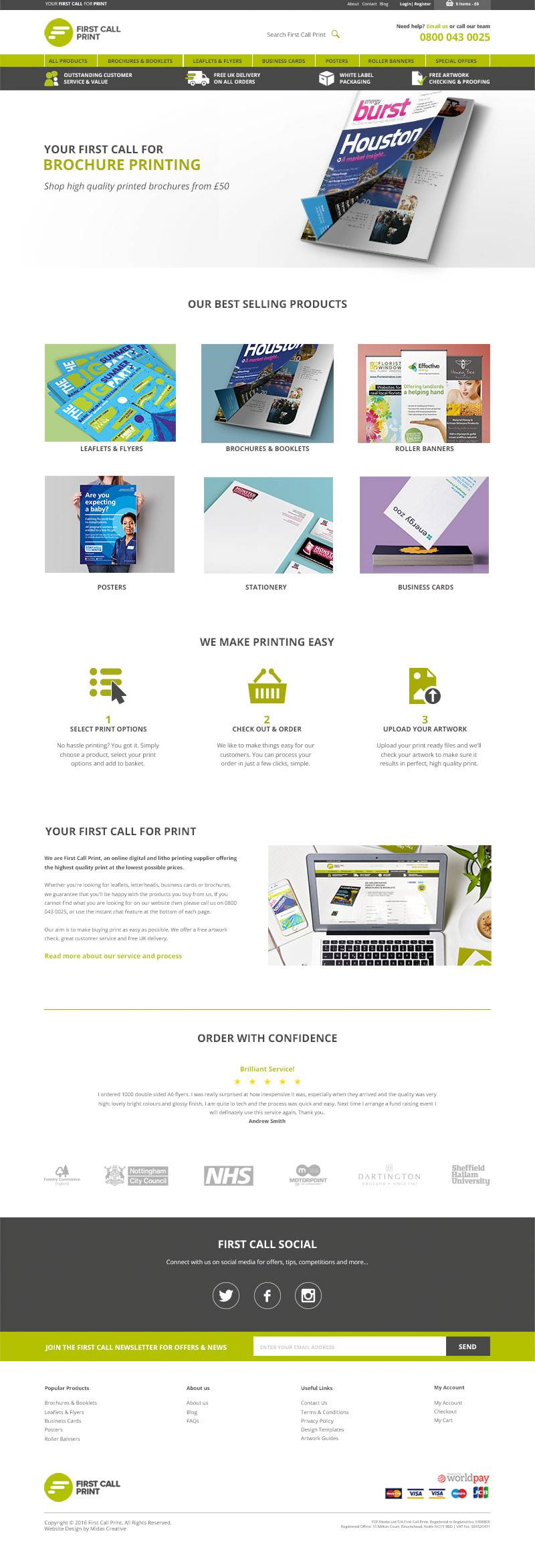 Online printing web design for First Call Print