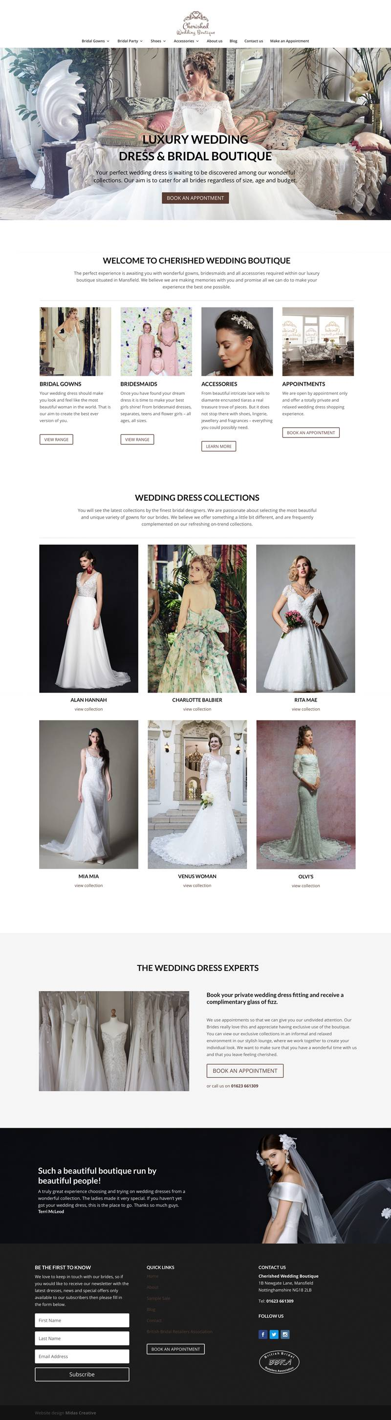 wedding dress shop website design