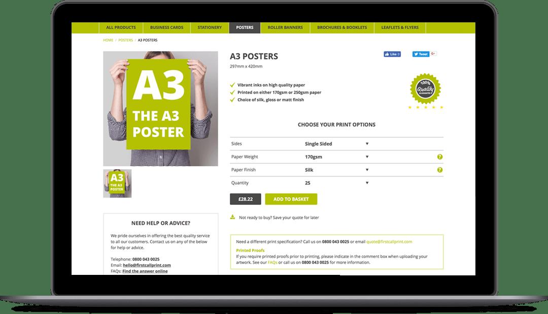 Online printing web design