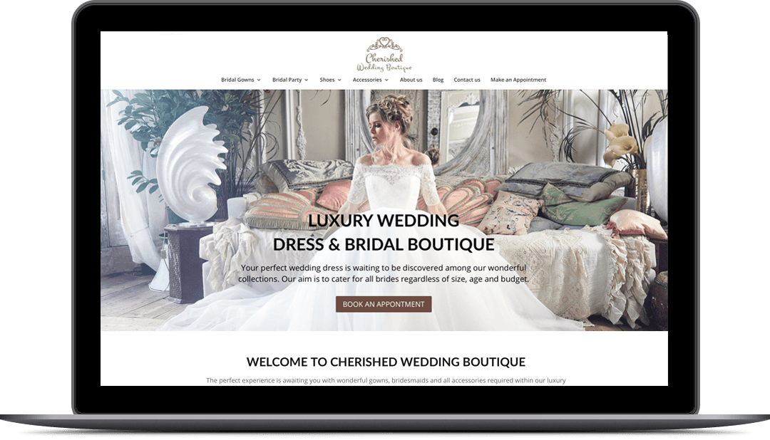 wedding dress shop website design for cherished wedding boutique