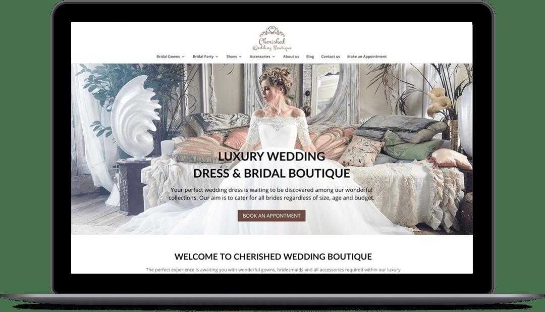 wedding dress shop website design for cherished wedding boutique