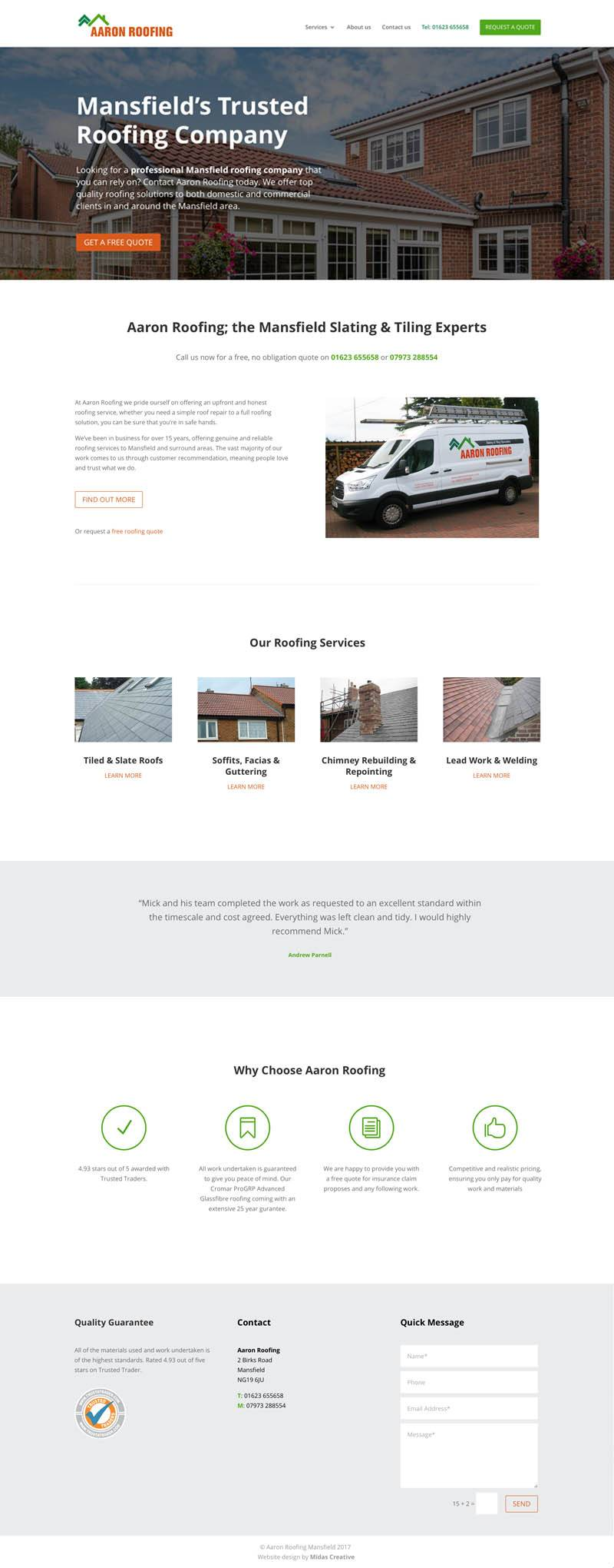 Roofing company website design for Aaron Roofing