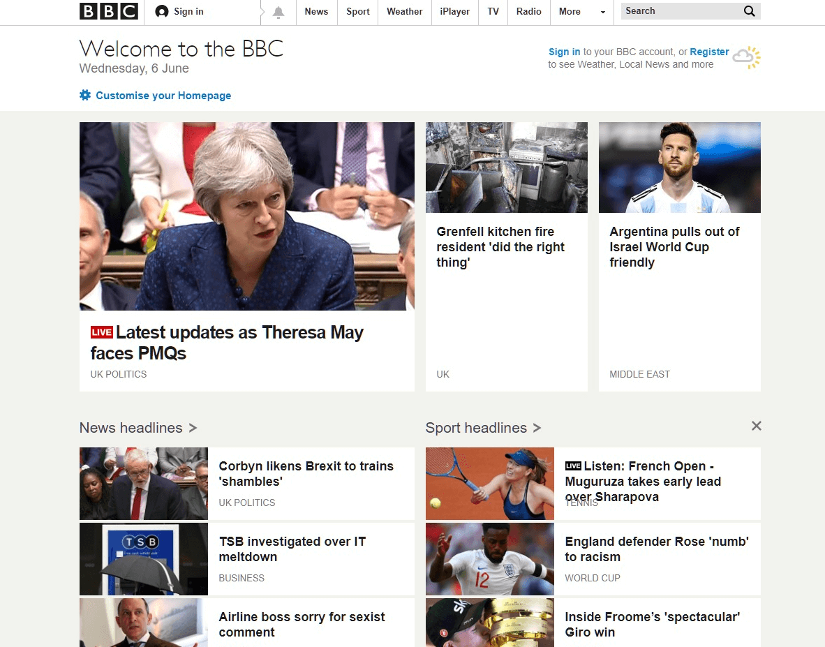 BBC website 2018