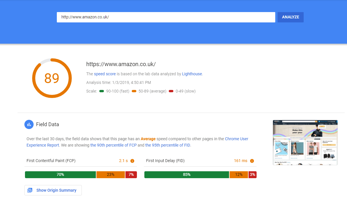 Image of results using Google PageSpeed Insight Testing Tool