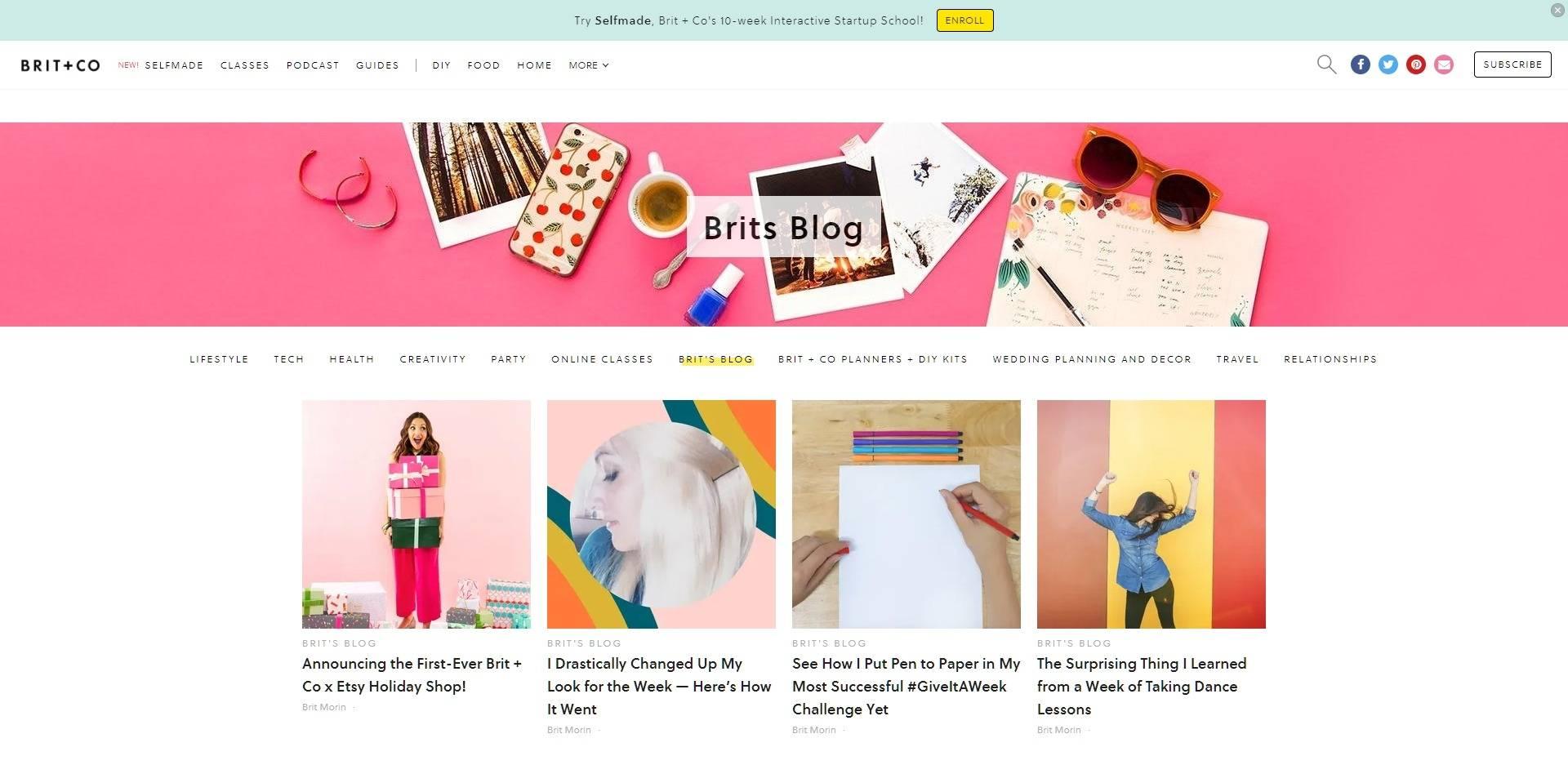 Website screenshot of a great designed blog landing page
